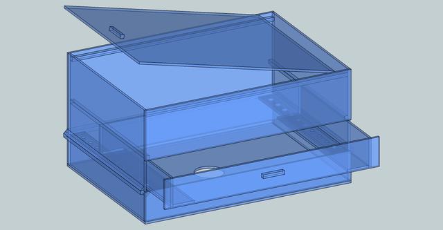 引き出し式ウールボックスの設計図面