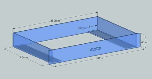 ウールボックスの設計図 引き出し部分 寸法もあり